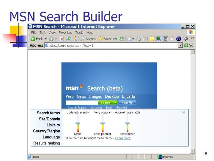MSN Search Builder
