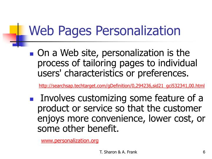 Web Pages Personalization