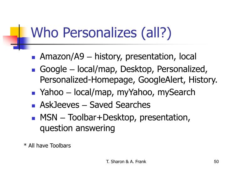 Who Personalizes (all?)