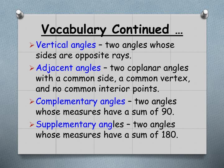 Vocabulary Continued …