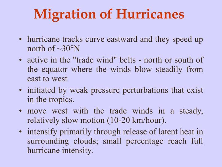 Migration of Hurricanes
