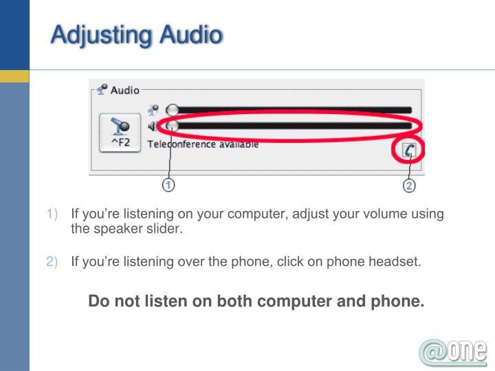 Adjusting Audio