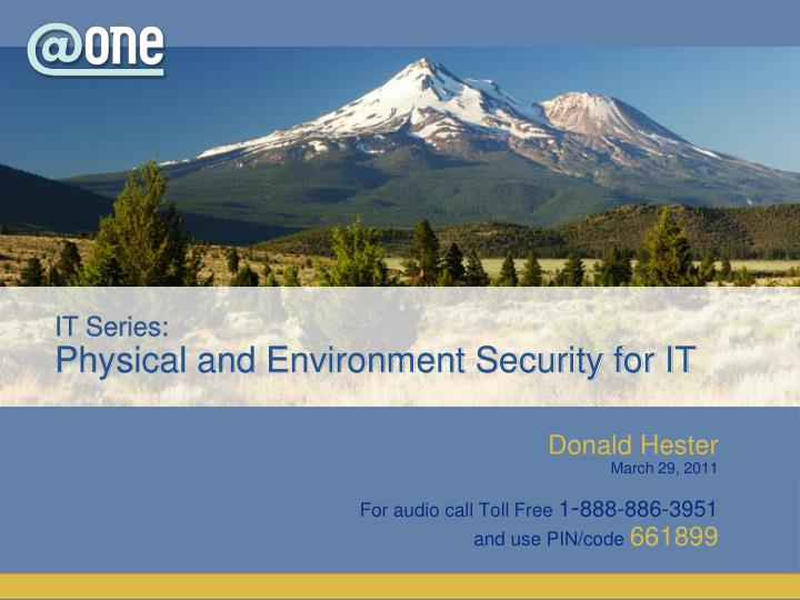 it series physical and environment security for it