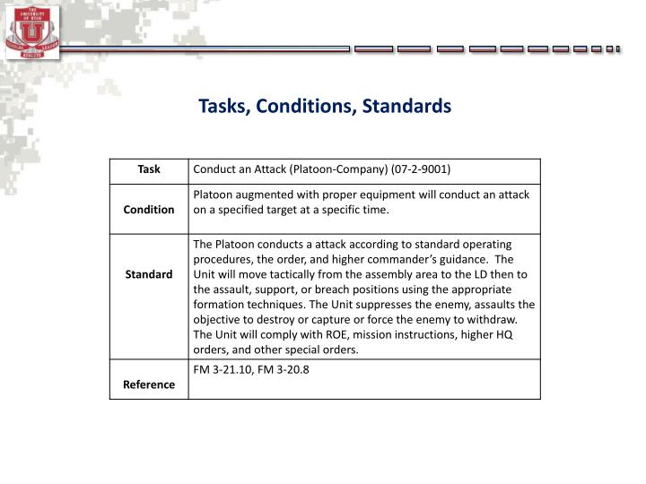 Tasks, Conditions, Standards