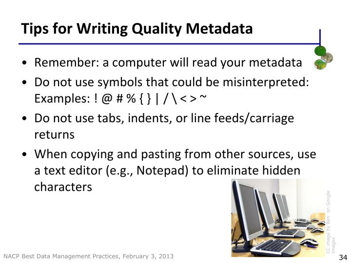 Tips for Writing Quality Metadata