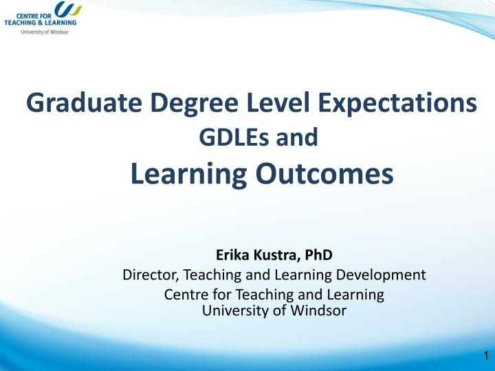 Graduate Degree Level Expectations