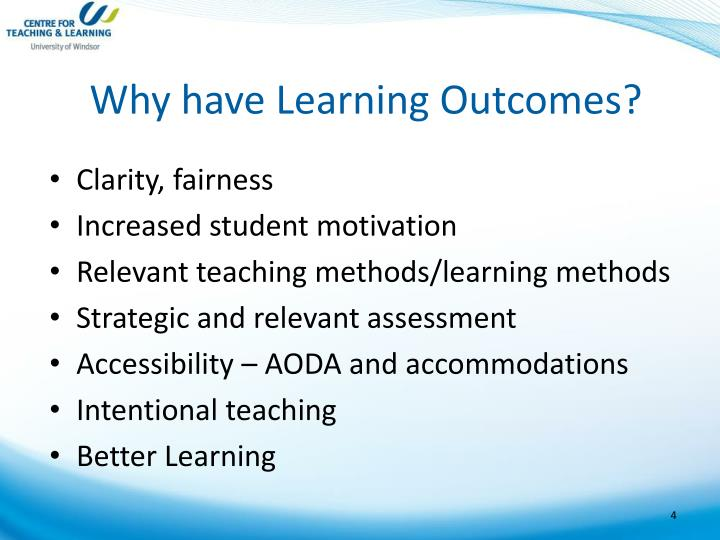 Why have Learning Outcomes?