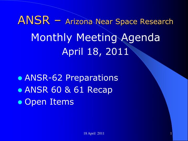 ansr arizona near space research