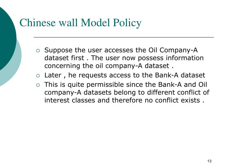 Chinese wall Model Policy