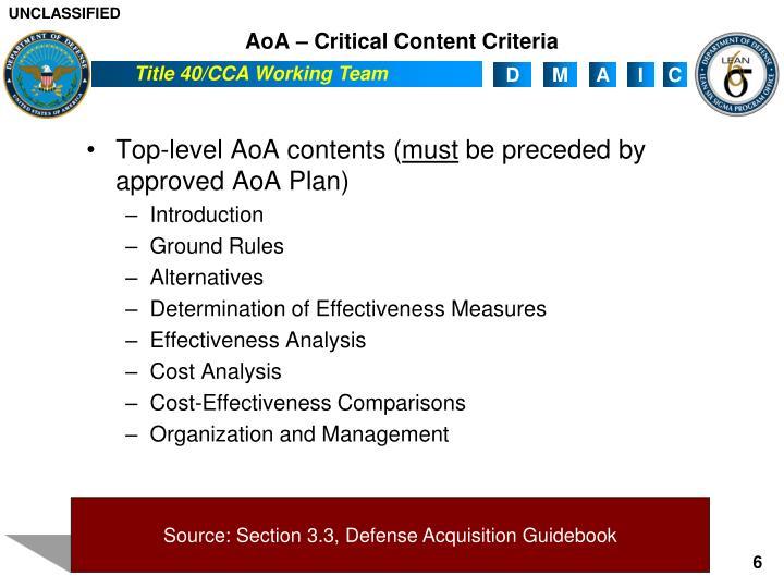 AoA – Critical Content Criteria