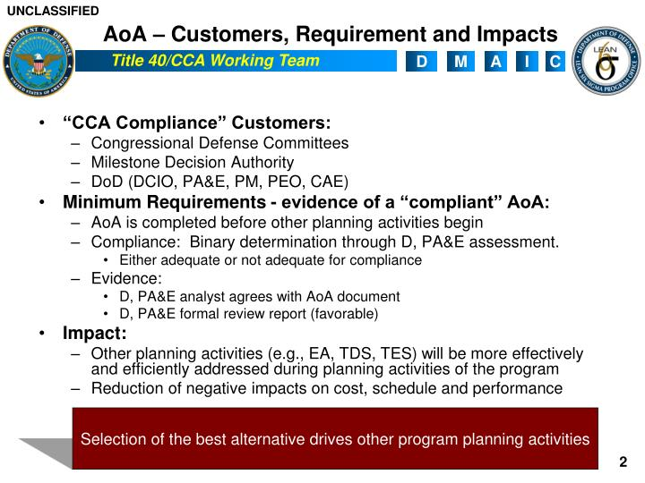AoA – Customers, Requirement and Impacts