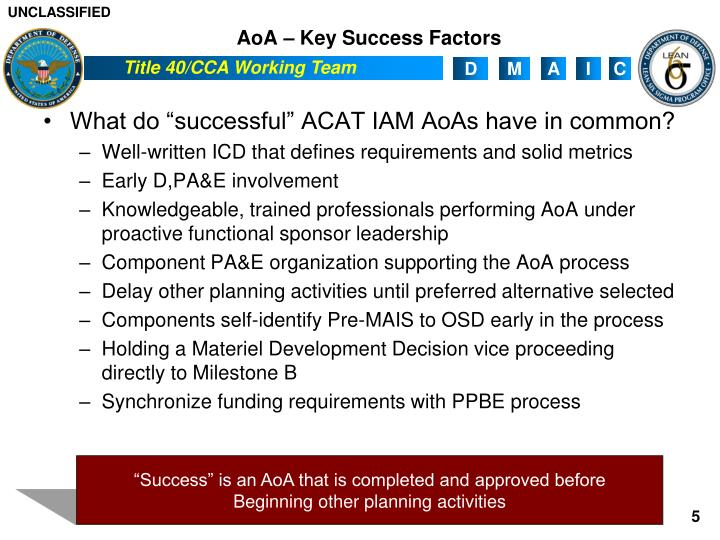AoA – Key Success Factors