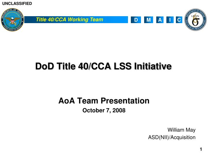 Dod title 40 cca lss initiative