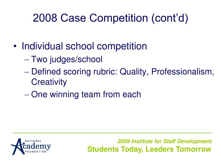 2008 Case Competition (cont'd)