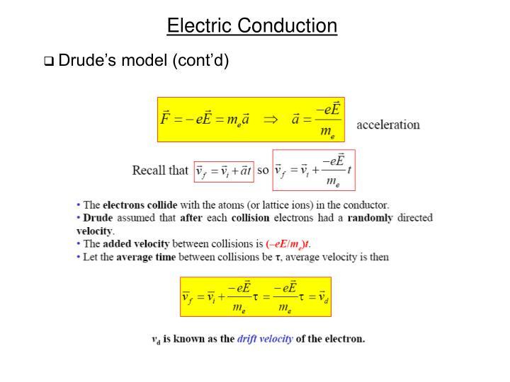 Drude's model (cont'd)