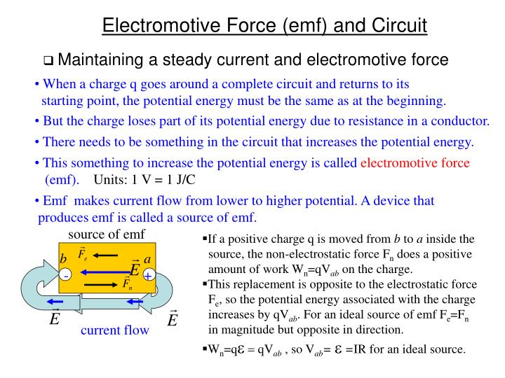 Maintaining a steady current and electromotive force