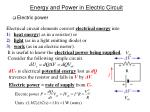 energy and power in electric circuit