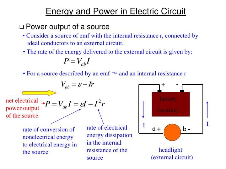 Power output of a source