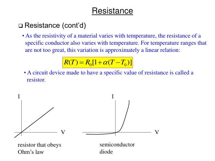 Resistance (cont'd)