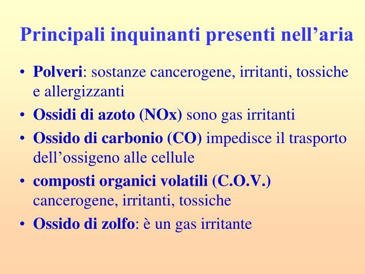 Principali inquinanti presenti nell'aria