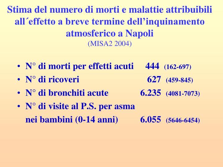 Stima del numero di morti e malattie attribuibili all´effetto a breve termine dell'inquinamento atmosferico a Napoli