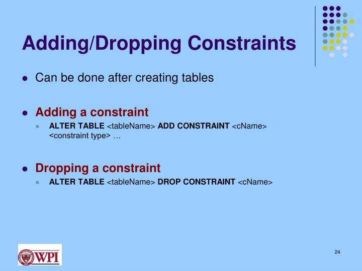 Adding/Dropping Constraints