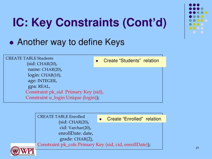 IC: Key Constraints (Cont