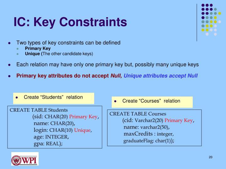 IC: Key Constraints