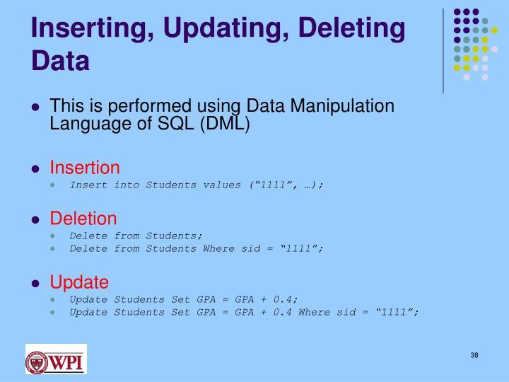 Inserting, Updating, Deleting Data