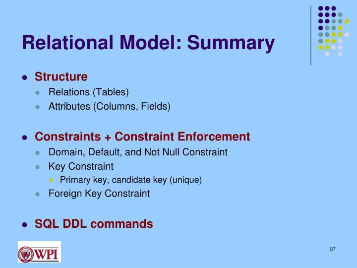 Relational Model: Summary