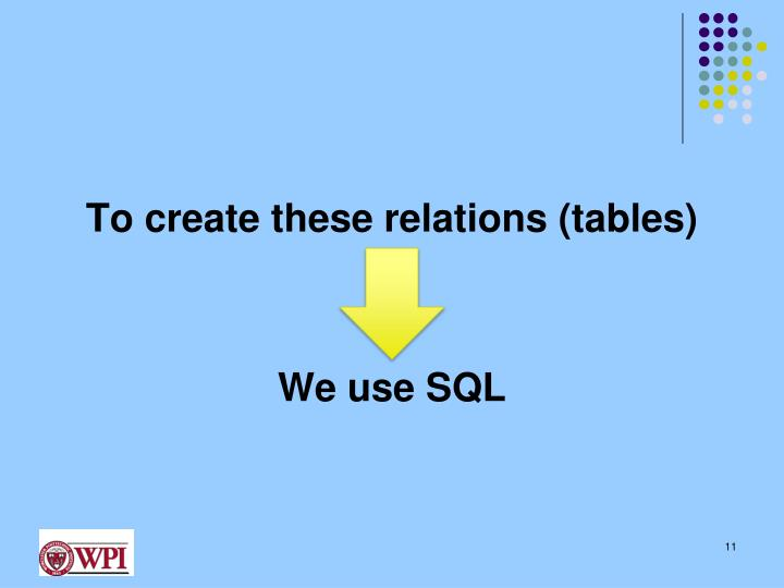 To create these relations (tables)