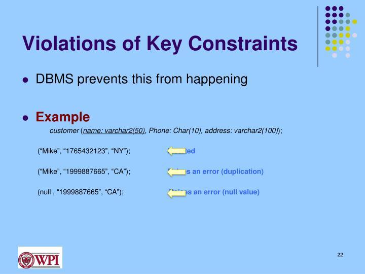 Violations of Key Constraints