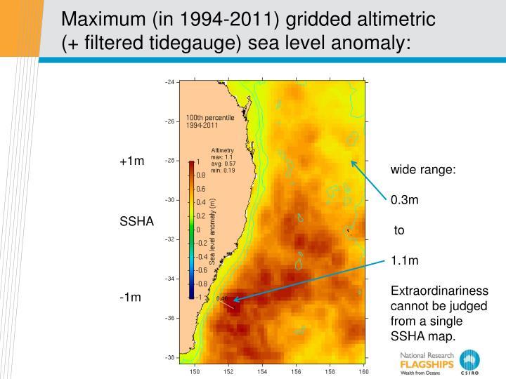 Maximum (in 1994-2011) gridded altimetric