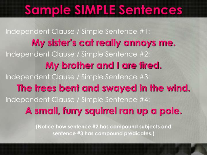 Sample SIMPLE Sentences