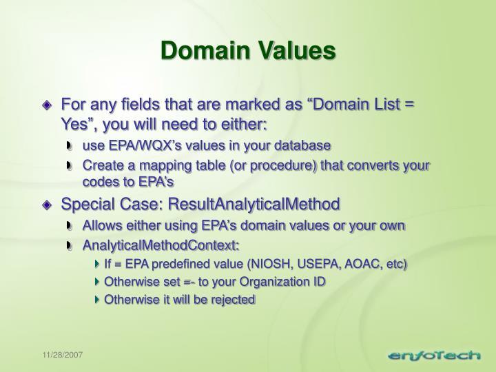 Domain Values
