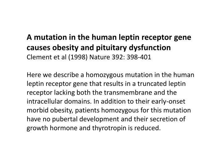 A mutation in the human leptin receptor gene causes obesity and pituitary dysfunction