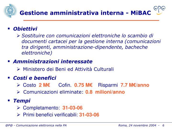Gestione amministrativa interna - MiBAC