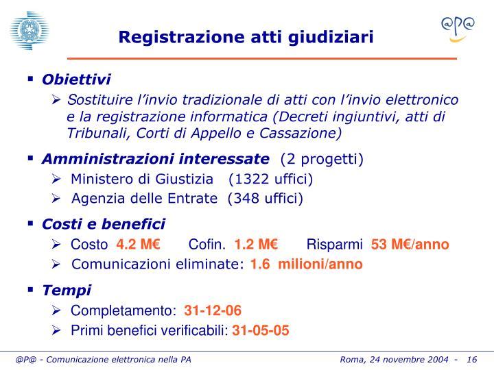 Registrazione atti giudiziari