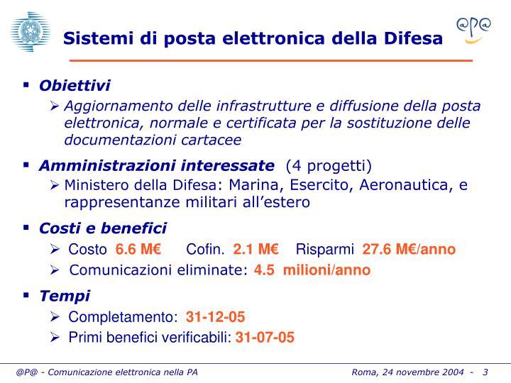 Sistemi di posta elettronica della Difesa