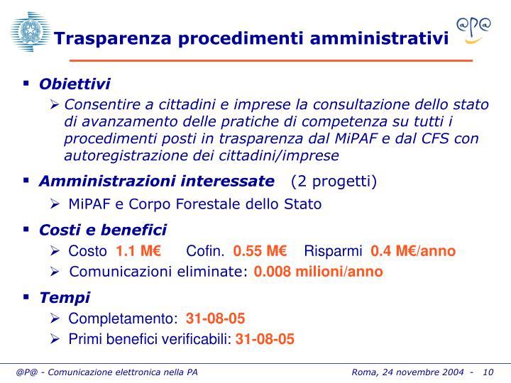 Trasparenza procedimenti amministrativi