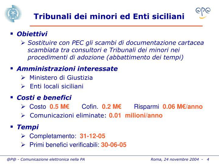 Tribunali dei minori ed Enti siciliani