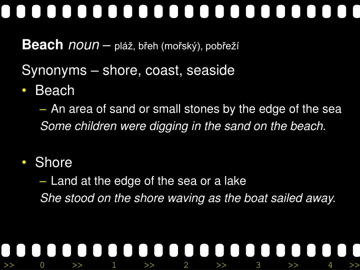 Synonyms – shore, coast, seaside