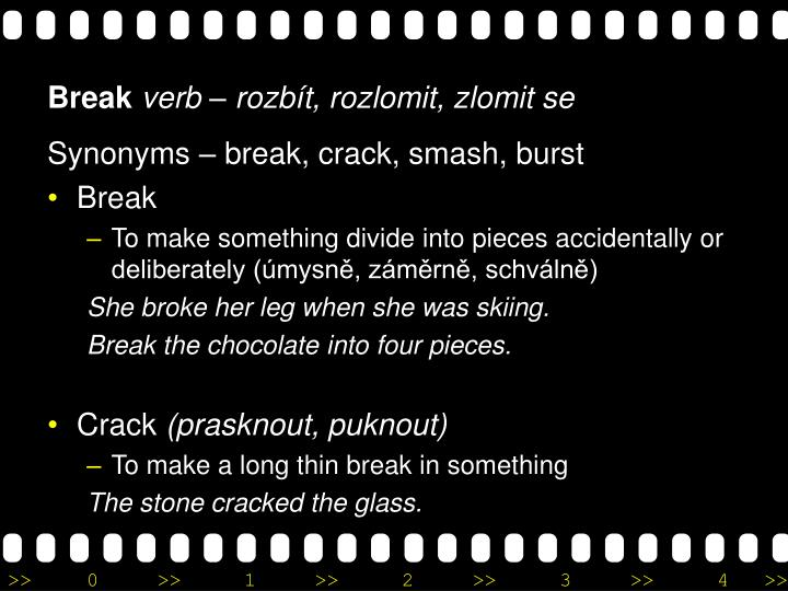 Synonyms – break, crack, smash, burst