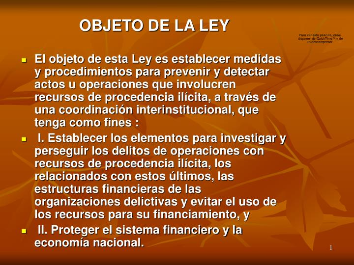 OBJETO DE LA LEY