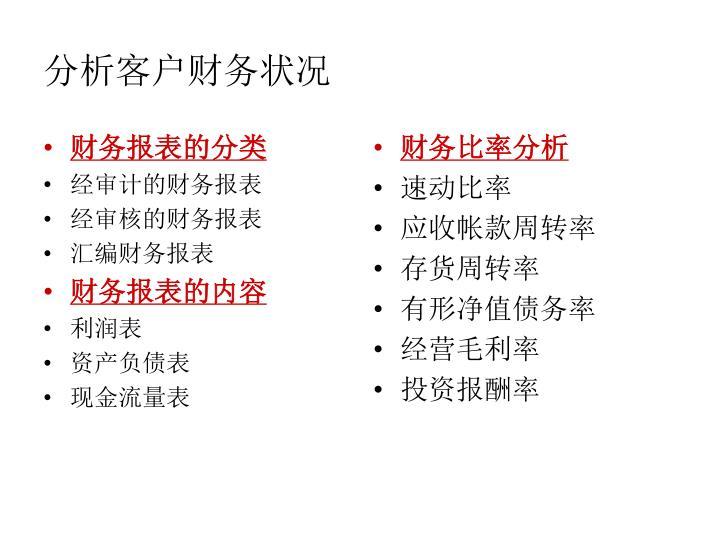 财务报表的分类