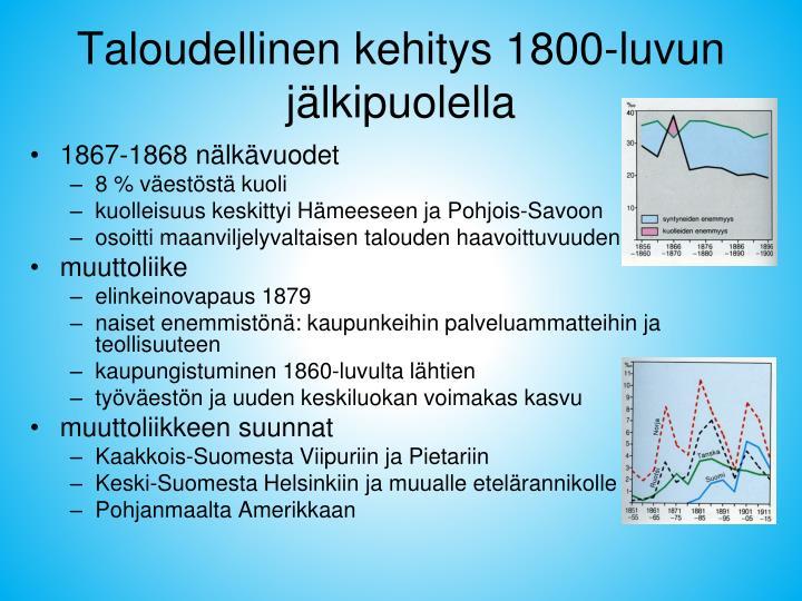 Taloudellinen kehitys 1800-luvun jälkipuolella