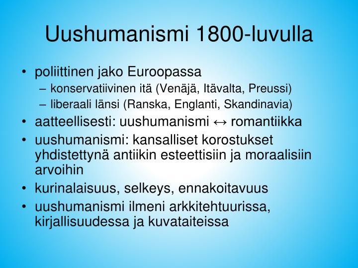 Uushumanismi 1800-luvulla