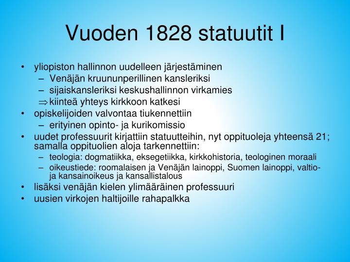 Vuoden 1828 statuutit I