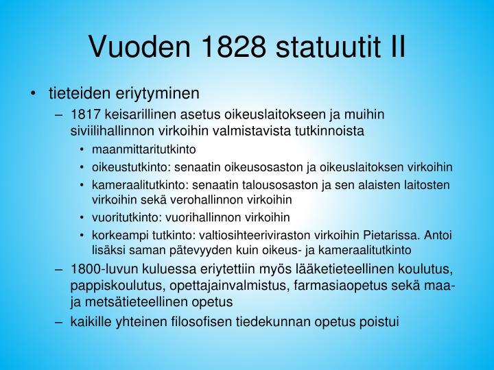 Vuoden 1828 statuutit II