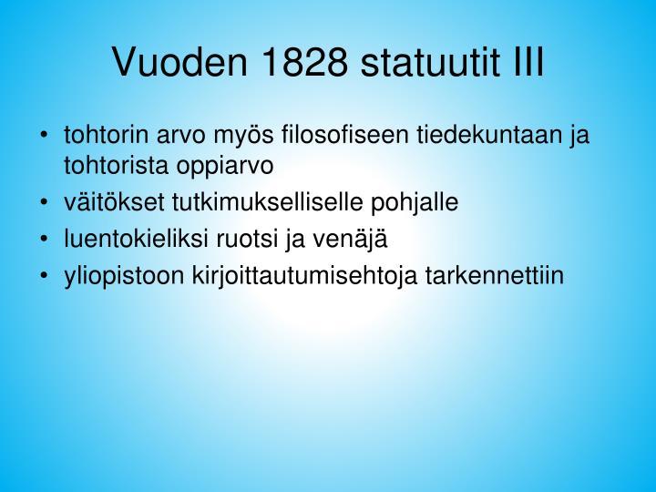 Vuoden 1828 statuutit III